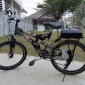 จักรยานเสือภูเขา มีเกียร์ ติดมอเตอร์รุ่นประหยัด ด้านซ้าย